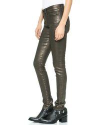Joe's Jeans Mid Rise Coated Metallic Skinny Jeans  Ainsley - Lyst