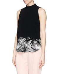 Elizabeth And James 'Tashi' Palm Tree Print Layer Top - Lyst