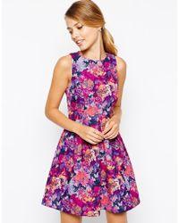 Oasis Rose Print Bonded Dress - Lyst