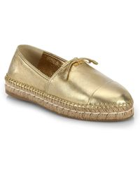 Prada Metallic Leather Espadrilles - Lyst
