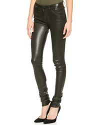 J Brand L624 Stacked Leather Skinny Pants Noir - Lyst