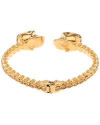 Alexander McQueen Jewelled Twin Skull Bracelet - Lyst