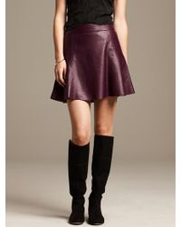 Banana Republic Burgundy Leather Fit and Flare Skirt  Secret Plum - Lyst