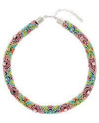 Topshop Multi Bead Rope Collar - Lyst