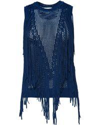 Torn By Ronny Kobo Sleeveless Ronja Fringe Sweater blue - Lyst