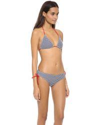 Pret-a-surf - String Bikini Top - Navy Seersucker - Lyst