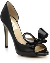 Valentino Bow Patent Leather D'Orsay Pumps - Lyst