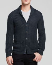 John Varvatos Stitch Shawl Collar Cardigan - Lyst