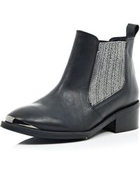 River Island Black Print Leather Low Heeled Ankle Boot - Lyst