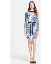 Tory Burch 'Annette' Print Belted Silk Sheath Dress - Lyst