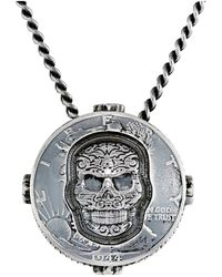 King Baby Studio Liberty Half Dollar Pendant Necklace W Carved Baroque Skull - Lyst