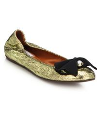 Lanvin Pearl-Bow Embossed Metallic Leather Flats - Lyst