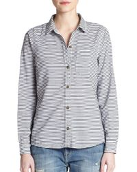 Current/Elliott The Slim Striped Cotton Shirt - Lyst