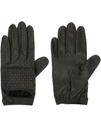 Portolano Dark Green Nappa Woven Leather Biker Gloves - Lyst