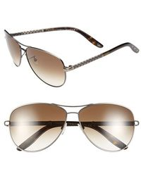 Bottega Veneta 61Mm Special Fit Aviator Sunglasses - Semi Matte Silver - Lyst