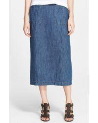 Eskandar - Cotton & Linen Denim Skirt - Lyst