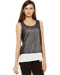 Calvin Klein Sleeveless Mesh Layered-Look Top - Lyst