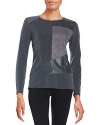 Calvin Klein Faux Suede And Leatherette Patchwork Top - Gray