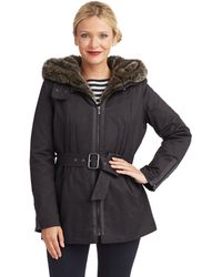 7 For All Mankind Belted Parka with Faux Fur - Lyst