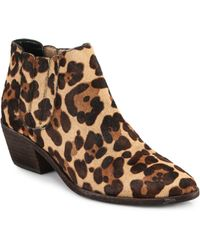 Joie Barlow Leopard-Print Calf Hair Booties - Lyst