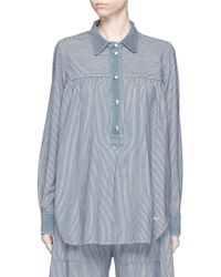Chloé   Stripe Cotton Denim Shirt   Lyst