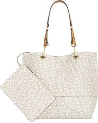 Calvin Klein Signature Reversible Tote With Pouch - Lyst
