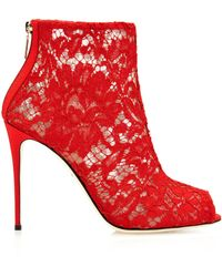 Dolce & Gabbana Red Lace Boots - Lyst