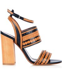 Tabitha Simmons Shaewood Block-Heel Leather Sandals black - Lyst
