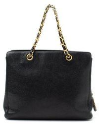 Chanel Preowned Black Caviar Leather Chain Tote - Lyst
