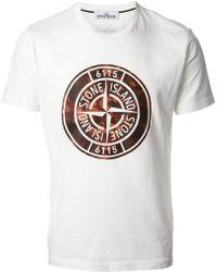 Stone Island Logo Print Tshirt - Lyst