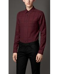 Burberry Slim Fit Check Cotton Shirt - Lyst