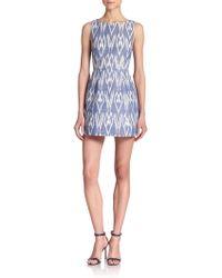 Alice + Olivia Epstein Ikat Cotton Chambray Dress blue - Lyst