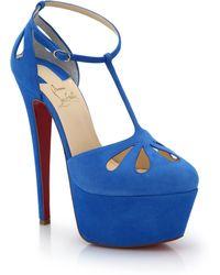 Christian Louboutin Cutout Suede Platform T-Strap Sandals blue - Lyst