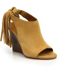 Chloé | Fringed Suede Peep-toe Wedge Sandals | Lyst