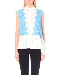 Preen Sleeveless Cotton And Lace Buttoned Peplum Shirt - Lyst