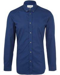 Maison Margiela Blue Button-Down Cotton Shirt - Lyst