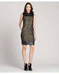 Lafayette 148 New York Black Faux Leather Cotton Blend Sleeveless Dress - Lyst