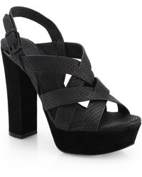 Joie Inex Snakeskin-Embossed Leather Platform Sandals - Lyst