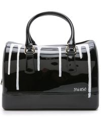 Furla Limited Edition Candy Painting Medium Satchel - Onyx And White - Lyst