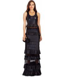 Diane von Furstenberg Dvf Harley Tiered Leather Gown black - Lyst