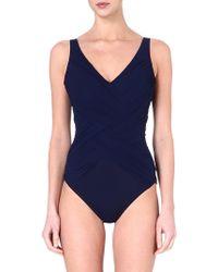 Gottex Lattice Swimsuit Navy - Lyst