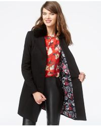 Betsey Johnson - Faux-fur-collar Lace-up A-line Coat - Lyst