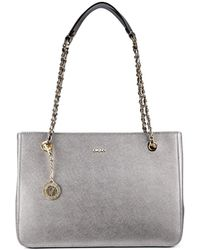 DKNY Metallic Saffiano Leather Chain Handle Shopper - Lyst