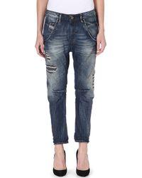 Diesel Fayza Boyfriend Distressed Crop Jeans Blue - Lyst