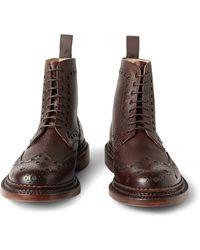 Grenson Fred Triplewelt Pebblegrain Leather Brogue Boots - Lyst