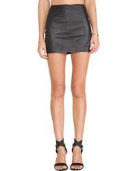 Alice + Olivia Neville Leather Mini Skirt - Lyst