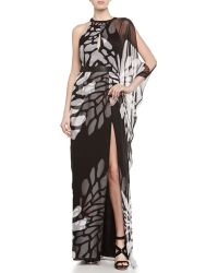 Halston Heritage Khyle One-Shoulder Gown With Slit - Lyst