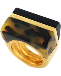 Vince Camuto - Goldtone Tortoiseshell Block Ring - Lyst