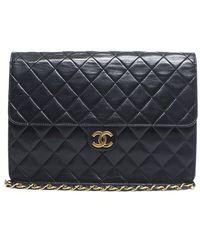 Chanel Pre-Owned Vintage Lambskin Single Flap Bag - Lyst