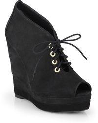 Diane von Furstenberg Payton Suede Open Toe Wedge Ankle Boots - Lyst